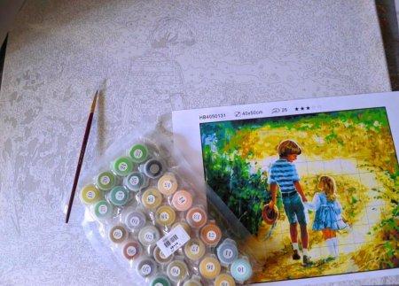 Детские раскраски по номерам - красками, на холсте.